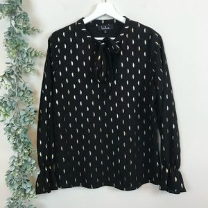 Lulu's Black & Gold Patterned Pussy Bow Blouse